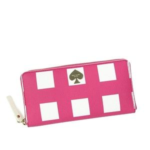 Kate Spade Pink Checker Place Lacey ZIP Wallet
